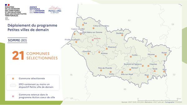 """Les communes de la Somme retenues dans le cadre du programme """"Petites villes de demain"""""""