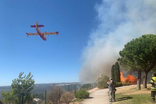 Un Canadair en action sur l'incendie de Vitrolles