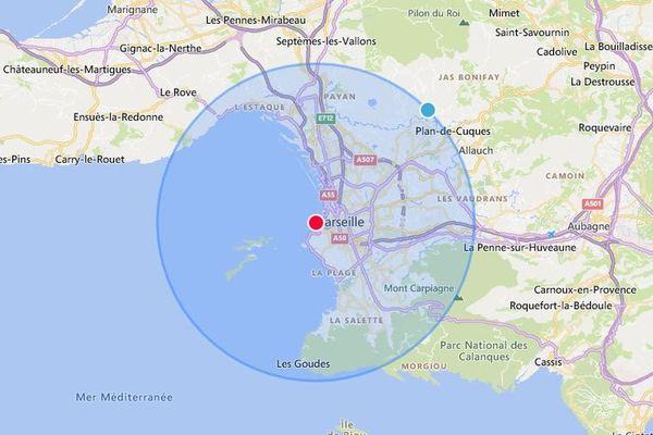 CARTE. Calculez où vous pouvez aller 10 km autour de chez vous en Provence-Alpes-Côte-d'Azur.