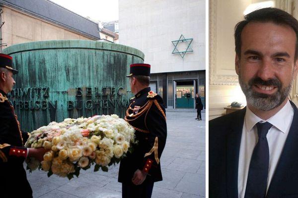"""Le mémorial de la Shoah (à gauche), à la demande du maire de Vichy (à droite), consent à ne plus utiliser le terme """"régime de Vichy"""" en parlant de l'État français collaborationniste pendant la Seconde guerre mondiale."""