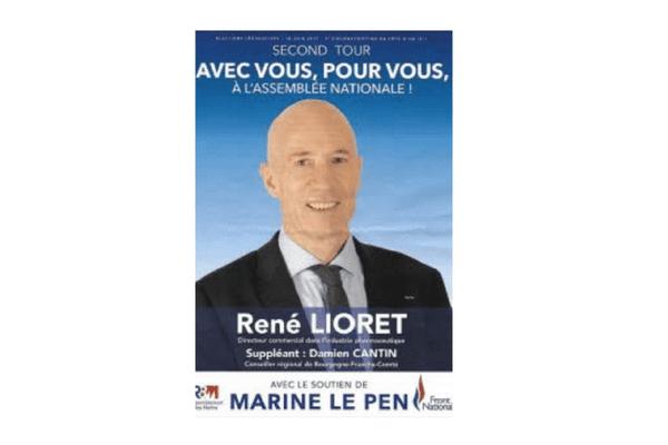 René Lioret, candidat FN éliminé lors du premier tour des législatives, a distribué ce tract mentionnant qu'il est au second tour.