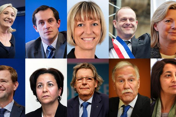 Marine Le Pen (FN), Nicoals Bay (FN), Mylène Troszczynski (FN), Steeve Briois (FN), Sylvie Goddyn (FN) Jérôme Lavrilleux (UMP), Tokia Saïfi (UMP), Gilles Pargneaux (PS), Dominique Riquet (UDI-Modem), Karima Delli (EELV)