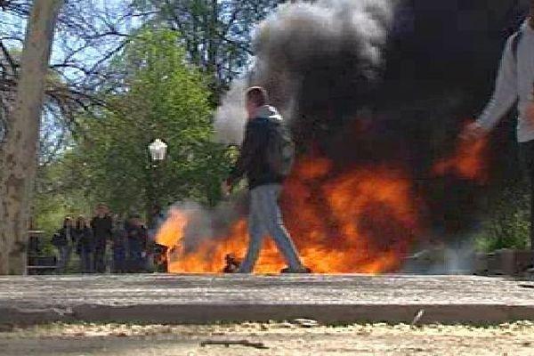 Montpellier - le cortège des manifestants sur l'Esplanade - 8 avril 2016.