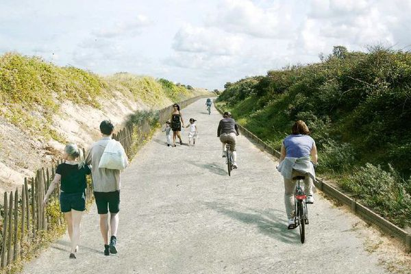 Vue future de la Route Blanche reconvertie en voie verte.