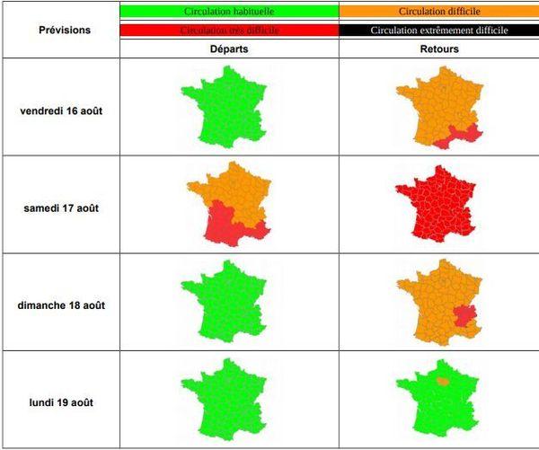 """Les prévisions de Bison Futé pour le grand """"week-end du 15 août"""" du vendredi 16 au lundi 19 août 2019"""