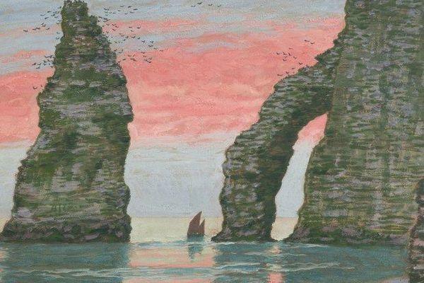 Jean Francis Auburtin L'Aiguille d'Étretat, ciel rouge, vers 1898-1900 Gouache sur papier, 50,5 x 66,6 cm. Collection particulière © Collection particulière / photo : François Doury