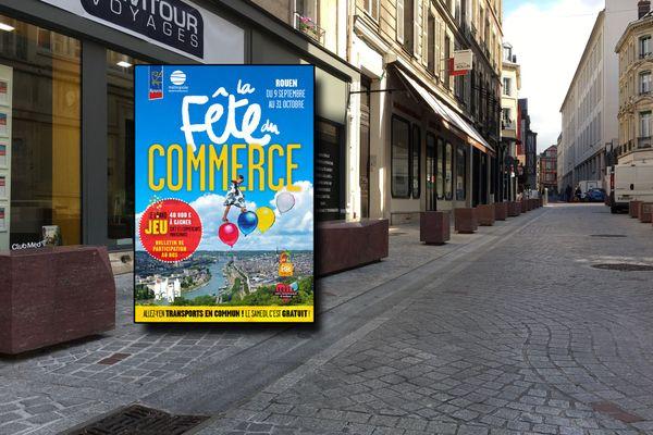 L'affiche de la fête du commerce et une des rues du centre-ville de Rouen