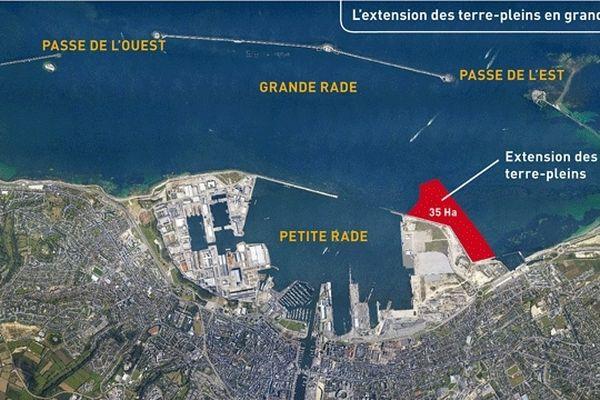 En rouge, l'extension prévue du port de Cherbourg