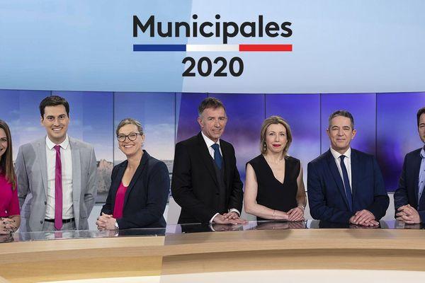 De gauche à droite : Bénédicte Drouet, Frédéric Nicolas, Emilie Leconte, Laurent Marvyle, Aurélie Misery, Franck Besnier et Sylvain Rouil