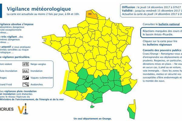 Vigilance jaune jeudi matin en Alsace