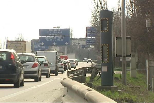 Le radar situé sur l'A35 à Strasbourg (Cronenbourg) en direction de Colmar.
