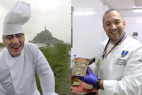 Ce premier défi sera animé et présidé par le chef doublement étoilé, Michel Bruneau (à gauche). Le parrain n'est autre que Guillaume Gomez, MOF et chef des cuisines de l'Elysée. (Droite)