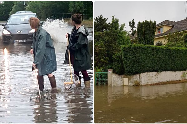 L'épisode orageux du 3 juin 2018 a causé une brusque montée des eaux dans certains secteurs comme ici à Saint-Brévin-les-Pins (44)