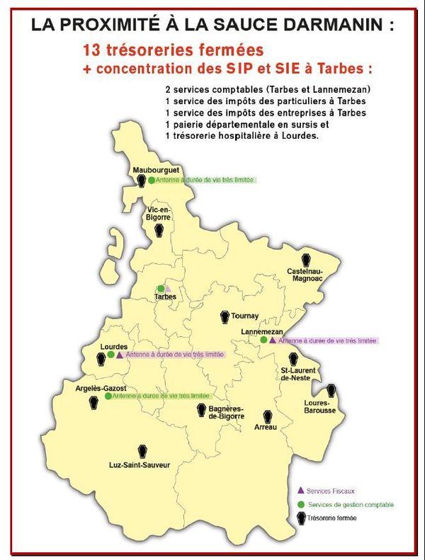 Carte des fermetures de trésoreries en Hautes-Pyrénées figurant sur le tract intersyndical CGT-FO-Solidaires