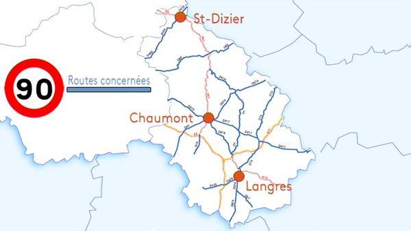 Voici le projet de retour aux 90 km/h sur certaines routes départementales (en bleu).