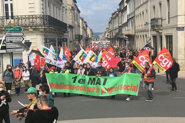 Le cortège de la Fête du travail à Périgueux, samedi 1er mai 2021.