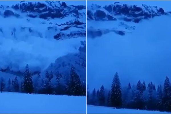 Alors que l'avalanche dévale la falaise, un immense aérosol se forme avant de tout engloutir
