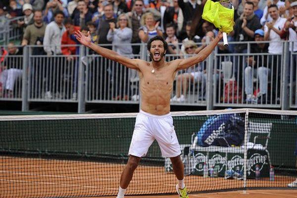 Laurent Lokoli après sa qualification pour le tableau final à Roland Garros, le vendredi 23 mai 2014.