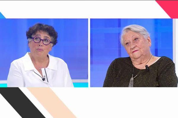 Monique Plazzi, vice-présidente du conseil départemental en charge de l'autonomie et Yvette Guary, 88 ans, résidente en établissement privé à Panazol