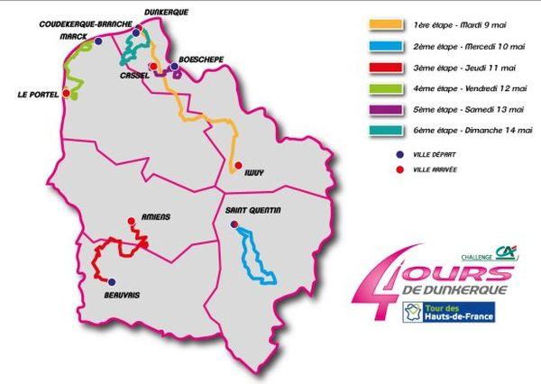 Le parcours 2017 des 4 jours de Dunkerque.