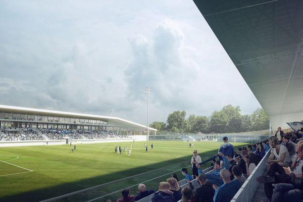 Visuel du terrain d'honneur du futur stade Marcel-Tribut à Dunkerque.