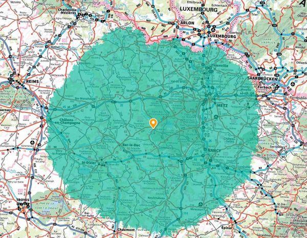 100 km à vol d'oiseau autour de Saint-Mihiel, au coeur de la Meuse.