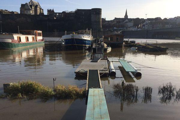 A Angers, la Maine est en crue, 23 décembre 2019