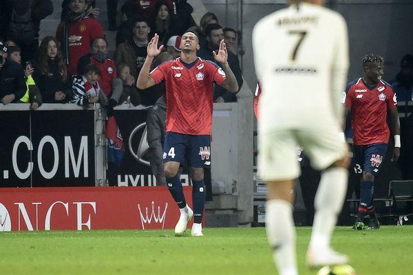 Gabriel, buteur face au Paris-Saint-Germain le 14 avril 2019 au stade Pierre-Mauroy.