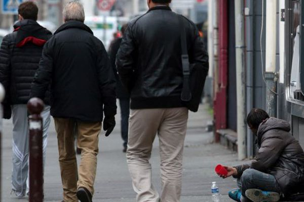 Un SDF dans le centre ville de Lille.