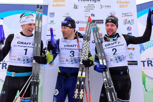 Robin Duvillard gagne la Transjurassienne 2017 devant Jean-Marc Gaillard et Yvan Perrillat-Boiteux