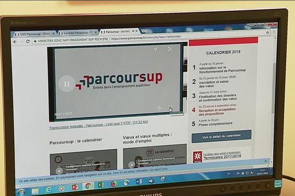 La page d'accueil du site de Parcoursup
