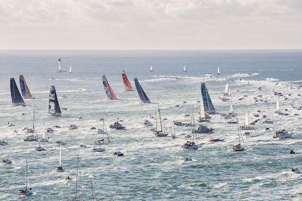 Les voiliers IMOCA au départ du dernier Vendée Globe, le 6 novembre 2016.