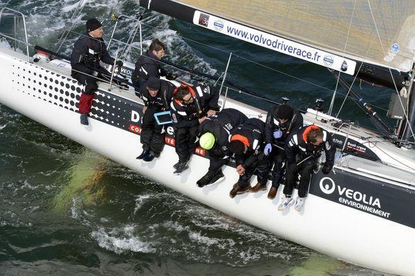 """""""Courrier Dunkerque 3"""" skippé par Daniel Souben, le 31 mars 2013 dans la baie de Quiberon"""