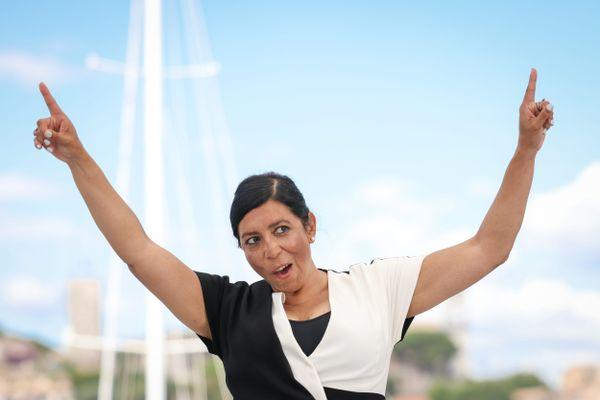 """La réalisatrice mexicaine Tatiana Huezo lors du photocall pour son film """"Noche de fuego"""", récompensé par la Mention spéciale du jury d'Un certain regard."""