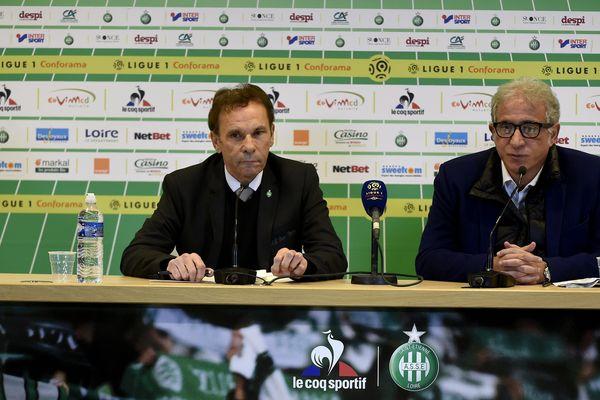 Bernard Caiazzo  et Roland Romeyer lors d'une conférence de presse commune en décembre 2017 à Geoffroy-Guichard