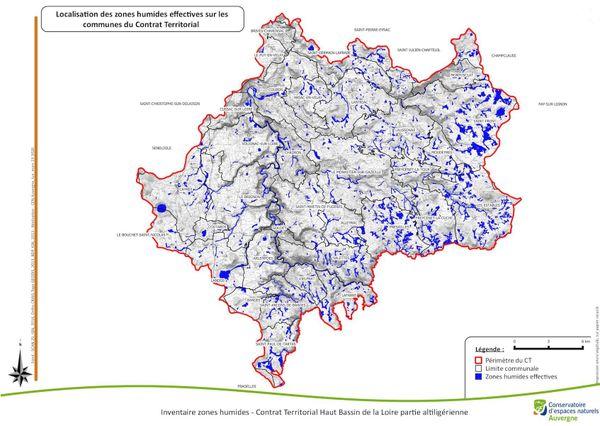 La carte des zones humides du haut-bassin de la Loire devrait très prochainement être rendue publique. Au total, 2400 hectares de milieux humides ont été cartographies, soit 4% du territoire.