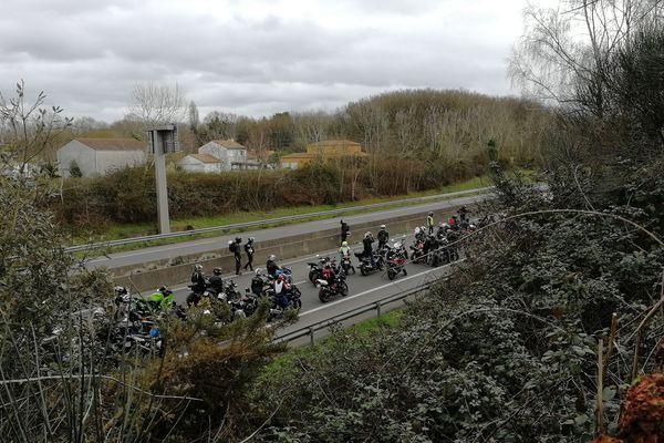 Des dizaines de motards sur le périphérique nantais le 10 février 2018