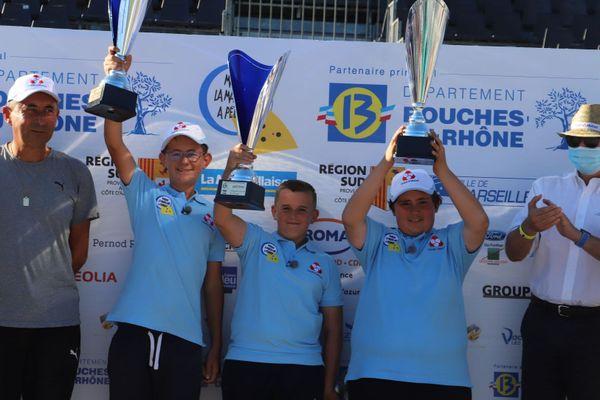 La triplette Petit, Boulenger, Giffard, gagnante du tournoi des cadets