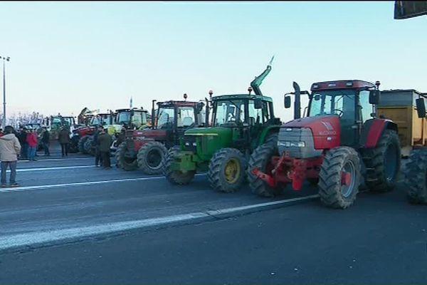 Les agriculteurs en rang de bataille, ici en Indre-et-Loire