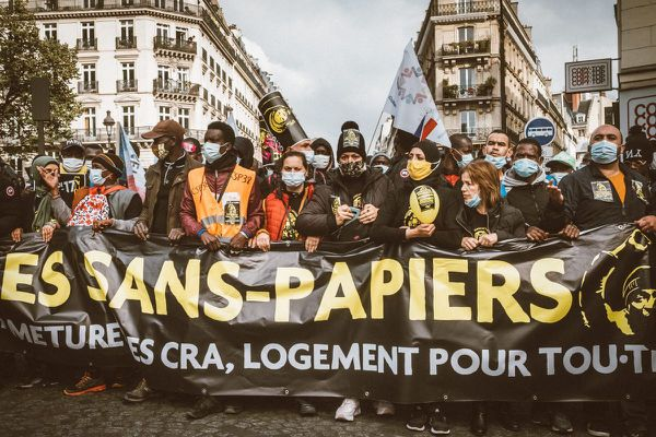 Marche des migrants en octobre 2020 à Paris