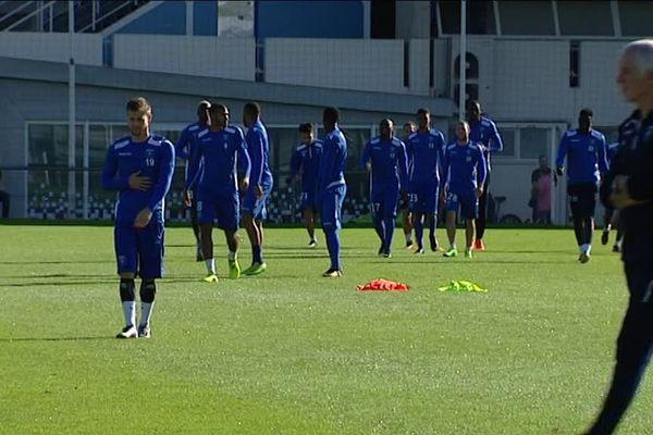 Les joueurs de l'AJ Auxerre à l'entraînement, avant leur match face à Bourg-en-Bresse