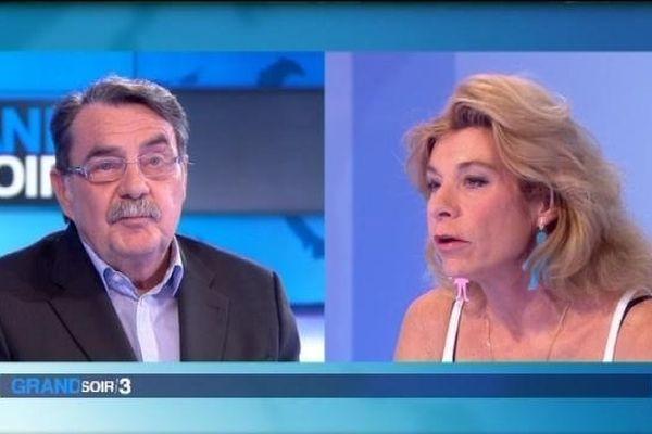 Jean-Pierre Michel et Frigide Barjot sur le plateau du Grand Soir 3