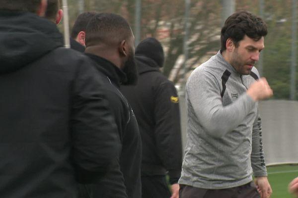 A l'entraînement cette semaine, Kevin Gourdon s'apprête à jouer son 200ème match pour La Rochelle.