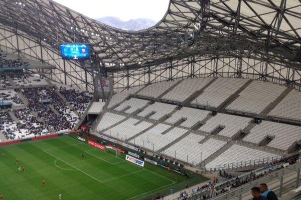 Un virage Sud sans supporters  pour cette rencontre contre l'équipe bretone.