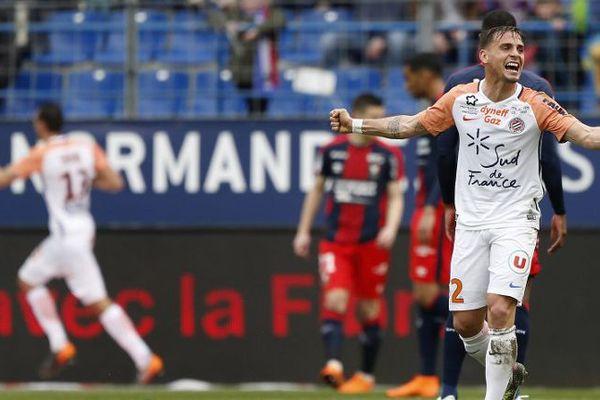 Le joueur du MHSC, Ruben Aguilar, lors du match face à Caen le 1er avril 2018.