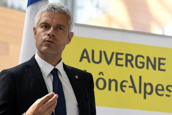Le président de la région Laurent Wauquiez lors d'une conférence de presse le 15 septembre à Lyon.