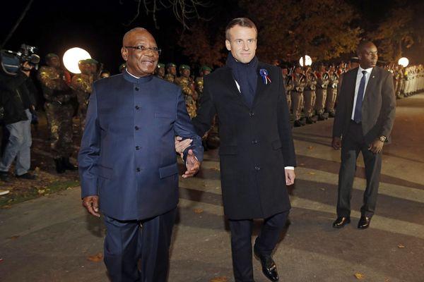 Arrivée du président du Mali Ibrahim Boubacar Keita, accueilli par Emmanuel Macron au Parc de Champagne à Reims.