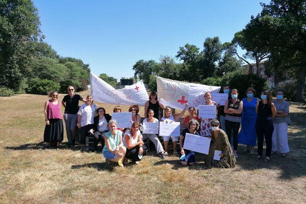Les formateurs de l'institut de formation de la Croix-Rouge française en grève ce lundi 06 septembre.