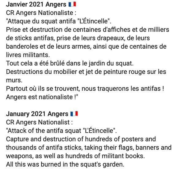 Le message posté sur le réseau social Telegram revendiquant le saccage du local de l'association l'Étincelle à Angers dans le Maine-et-Loire