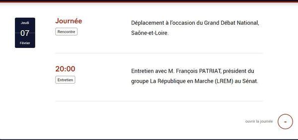 L'agenda d'Emmanuel Macron pour le jeudi 7 février 2019